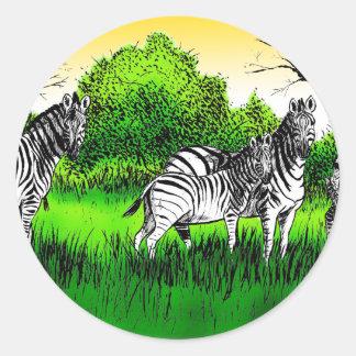 Zebras Alert Classic Round Sticker