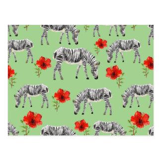 Zebras Among Hibiscus Flowers Postcard