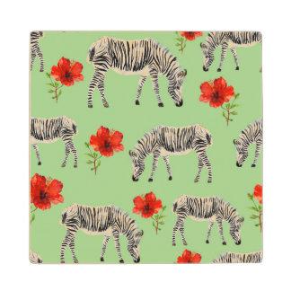 Zebras Among Hibiscus Flowers Wooden Coaster