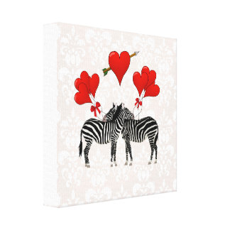 Zebras and hearts on pink damask canvas print