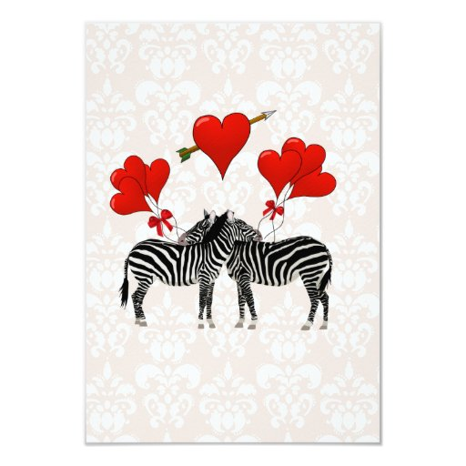 Zebras and hearts on pink damask card