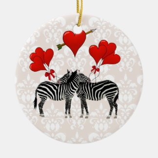Zebras and hearts on pink damask Double-Sided ceramic round christmas ornament