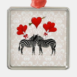 Zebras and hearts on pink damask square metal christmas ornament