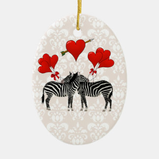 Zebras and hearts on pink damask christmas ornament