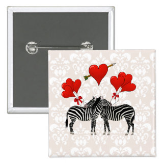 Zebras and hearts on pink damask pinback button