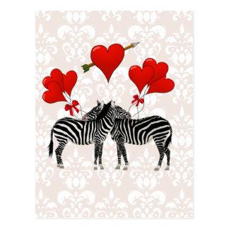 Zebras and hearts on pink damask postcard