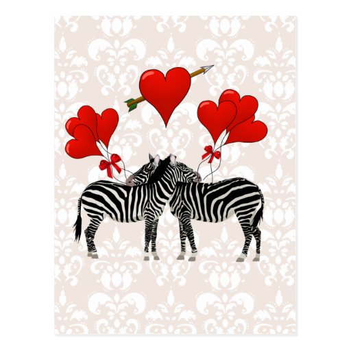 Zebras and hearts on pink damask postcard