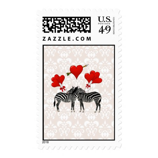 Zebras and hearts on pink damask stamp