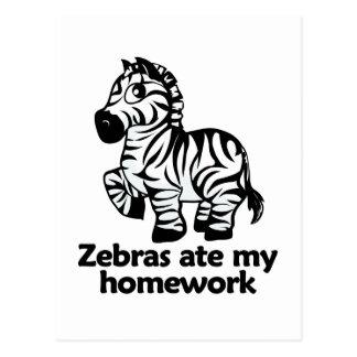 Zebras ate my homework postcard