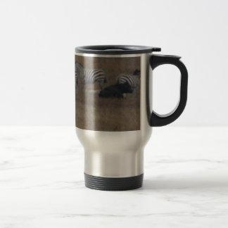 zebras & cows in field travel mug