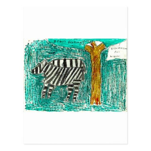 Zebras eating grass postcard