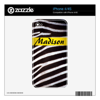 Zebra's Hide iPhone Skin Skins For iPhone 4S
