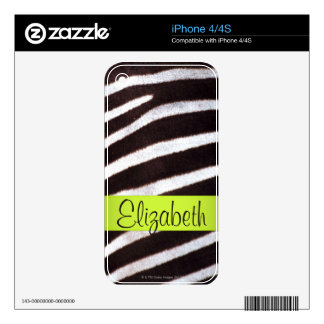 Zebra's Hide iPhone Skin Decals For The iPhone 4S