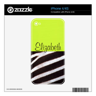 Zebra's Hide iPhone Skin Decal For iPhone 4