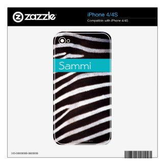 Zebra's Hide iPhone Skin Skin For iPhone 4S