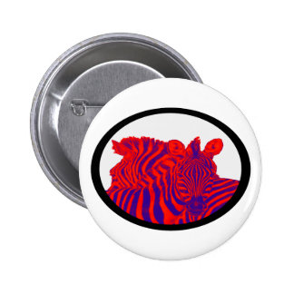 ZEBRAS IN RED PINBACK BUTTONS