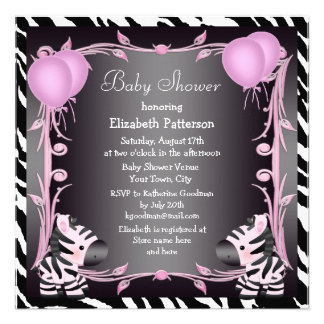 Zebras & Magic Wand Pink Princess Baby Shower Personalized Invites