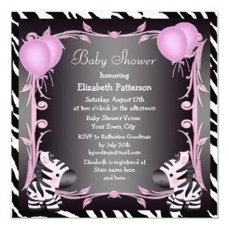 Zebras & Magic Wand Pink Princess Baby Shower 5.25x5.25 Square Paper Invitation Card
