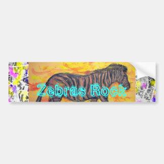 Zebras Rock drip painting Car Bumper Sticker