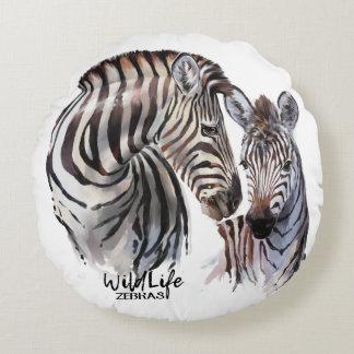 Zebras Round Pillow