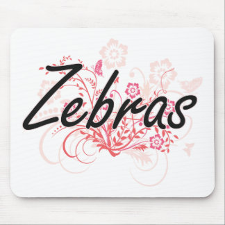 Zebras with flowers background mouse pad