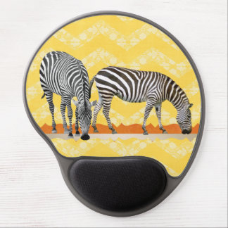 Zebras Yellow White Lace Chevrons Gel Mousepads