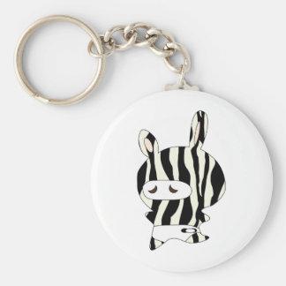 zebraskin basic round button keychain