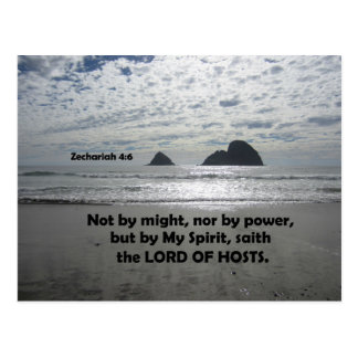 Zech. 4:6 Not by might, nor by power, Postcard
