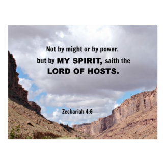 Zechariah 4:6 Not by might, nor by power.... Postcard