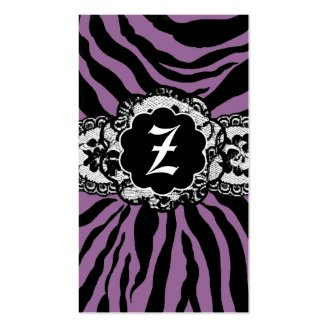 ZEES SEXY SAFARI: PURPLE ZEBRA BUSINESS CARD