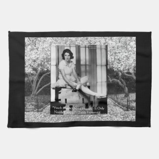 Zelda Fitzgerald with magnolia grove in background Kitchen Towel