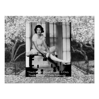 Zelda Fitzgerald with magnolia grove in background Poster