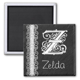 Zelda Z Monogram White Lace on Black Magnet