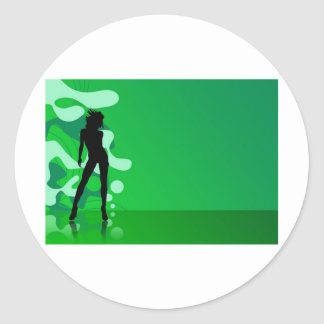 zelena silueta classic round sticker