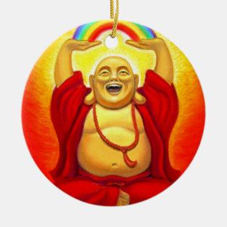 Zen afortunado que ríe el ornamento de Buda Adorno Redondo De Cerámica