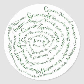 """Zen Art  """"Vibrate your Blessings"""" Classic Round Sticker"""