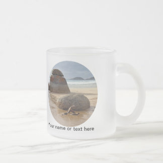 Zen Balanced Rocks on Australia Beach Frosted Glass Coffee Mug