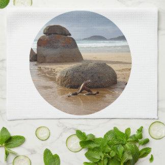 Zen Balanced Rocks on Australia Beach Kitchen Towel
