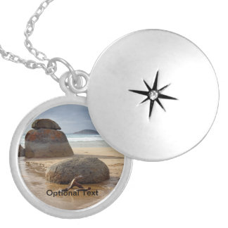 Zen Balanced Rocks on Australia Beach Locket Necklace