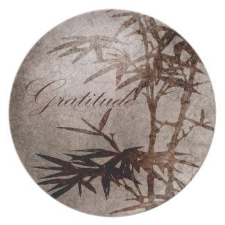 Zen Bamboo Gratitude Party Plate