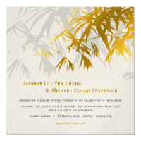 Zen Bamboo Leaves Gold Black Asian Wedding Invite
