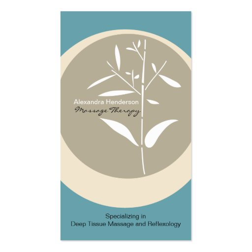 Zen Bamboo Massage Therapy Business Card - Blue