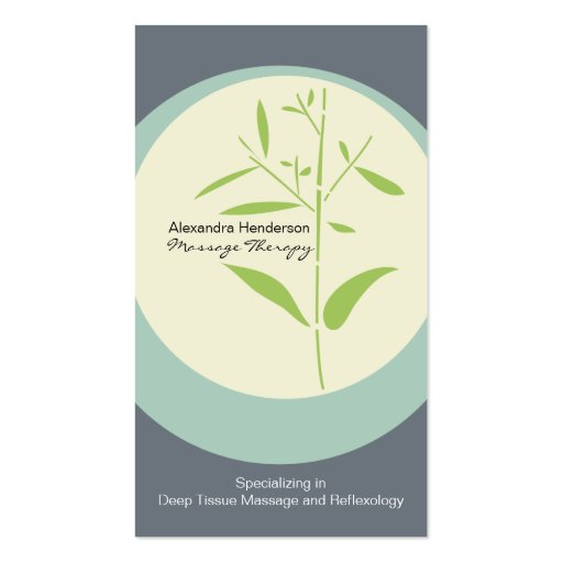 Zen Bamboo Massage Therapy Business Card - Gray