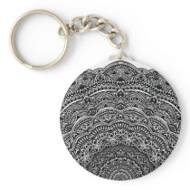 Zen Black and white mandala Sophisticated ornament Keychain