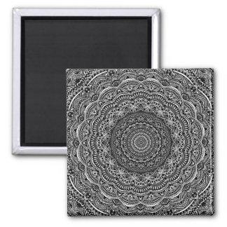 Zen Black and white mandala Sophisticated ornament Magnet