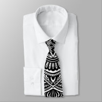 Zen Black and white mandala Sophisticated ornament Neck Tie