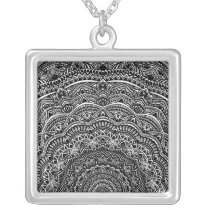 Zen Black and white mandala Sophisticated ornament Silver Plated Necklace