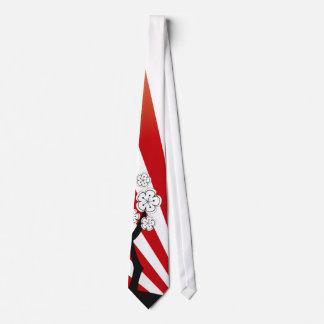 Zen blanco de las flores de las flores de cerezo corbata personalizada