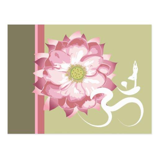 Zen blanco del símbolo de OM de Lotus de la yoga Tarjetas Postales