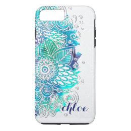 Zen Blue and Teal Floral Mandala Design iPhone 8 Plus/7 Plus Case